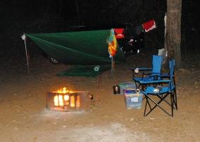 our improvised campsite — a new adventure